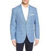 Trim Fit Plaid Linen Sport Coat