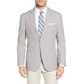 Trim Fit Windowpane Stretch Cotton Sport Coat