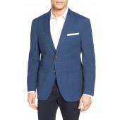 Trim Fit Plaid Stretch Cotton Blend Sport Coat