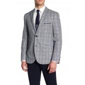 Navy Plaid Two Button Notch Lapel Slim Fit Suit Separates Jacket