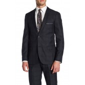 Blue Plaid Two Button Peak Lapel Slim Fit Suit Separates Jacket