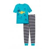 Shark 2-Piece Stripe PJ Set (Little Boys)
