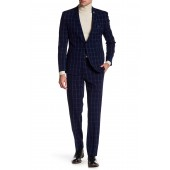 Plaid Two Button Notch Lapel Extra-Trim Fit Suit
