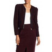 Braxlee Faux Leather Trimmed Knit Jacket