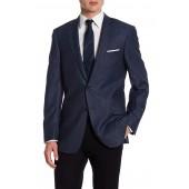 Dark Blue Two Button Notch Lapel Wool Blend New York Fit Sport Coat