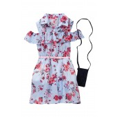 Belted Cold Shoulder Ruffle Dress (Big Girls)
