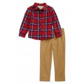 Plaid Faux Fur Lined Shirt & Pants Set (Toddler Boys)