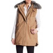 Genuine Fox Fur Trim Parka Vest