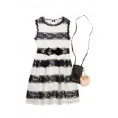 Belted Stripe Dress with Faux Fur Trimmed Accessory Bag (Big Girls)