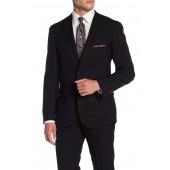 Black Solid Two Button Notch Lapel Slim Fit Suit Separates Jacket