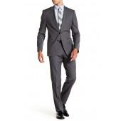Huge Genius Medium Gray Sharkskin Two Button Notch Lapel Wool Suit