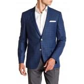 Hutsons Navy Plaid Two Button Notch Lapel Virgin Wool Sports Coat