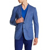 Nobis Turquoise Aqua Two Button Notch Lapel Virgin Wool Sport Coat