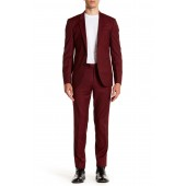 Anwor Hadlin Dark Red Check Two Button Notch Lapel Virgin Wool Suit