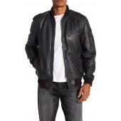 Knit Trim Leather Bomber Jacket