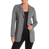 Fitted Knit Patterned Long Blazer