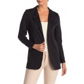 Fitted Knit Solid Long Blazer