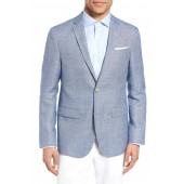 Trim Fit Windowpane Wool & Linen Sport Coat