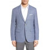 Trim Fit Check Wool & Linen Sport Coat