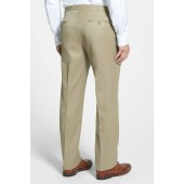 Flat Front Worsted Wool Trousers