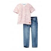 Short Sleeve Crew Neck Tee & Jean Set (Toddler Boys)