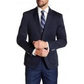 Navy Two Button Notch Lapel Knit Suit Separates Jacket