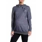 Zoe Asymmetrical Zip Hooded Pullover Sweatshirt (Maternity)