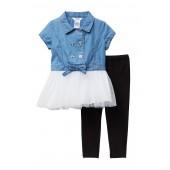 Denim & Tulle Tunic & Leggings Set (Toddler & Little Girls)
