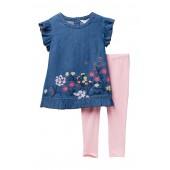 Embroidered Denim & Leggings Set (Toddler & Little Girls)