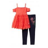 Off-the-Shoulder Smocked Tunic & Leggings Set (Toddler & Little Girls)