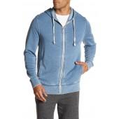 Reverse Knit Panel Zip Hoodie