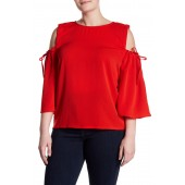Cold Shoulder 3/4 Length Sleeve Top (Plus Size)