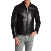 Seam Shoulder Panel Leather Moto Jacket