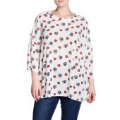 3/4 Length Print Top (Plus Size)