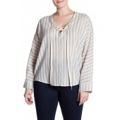 Lace-Up Front Stripe Print Woven Blouse (Plus Size)