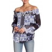 Patterned Off-the-Shoulder Crochet Inset Blouse