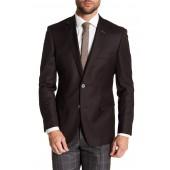Brown Two Button Notch Lapel Wool Suit Separates Jacket