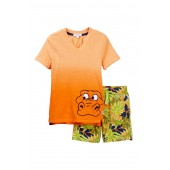 Dip-Dye Tropical Tee & Shorts Set (Toddler & Little Boys)
