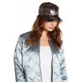 Metallic Faux Leather Cap