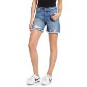 High Waist Cutoff Denim Shorts (Blue 197) (Regular & Plus Size)