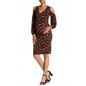 Briitni Cold Shoulder Print Dress (Maternity)
