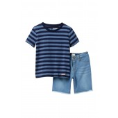 Stripe Jersey & Frayed Shorts Set (Toddler Boys)
