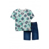 Heather Printed Terry Top & Frayed Shorts Set (Toddler Boys)