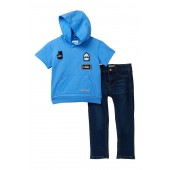 Short Sleeve French Terry Pullover & Jean Set (Toddler Boys)