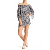 Cover Me Up Off-the-Shoulder Printed Cover Up