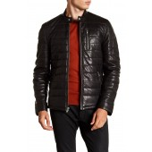 Quilted Center Front Leather Moto Jacket