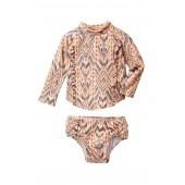 Print Raglan Top & Bottom Swimsuit Set (Baby Girls)