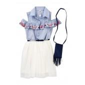 Belted Embroidered Cold Shoulder Ruffle Dress (Big Girls)