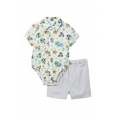 Jungle Bodysuit Shirt & Short Set (Baby Boys)