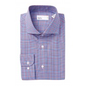 Plaid Trim Fit Dress Shirt
